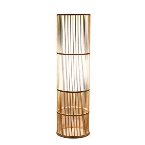 Chinesische Bambus-Rebe-Stehlampe, Teestube Wohnzimmer Schlafzimmer Nacht warme handgemachte Rahmen vertikale Lesestandardlampe (Color : Wood-B) -