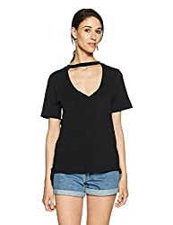 Forever 21 Womens Plain Regular Fit Cotton Shirt (00095473042_0009547304_Black_2_)
