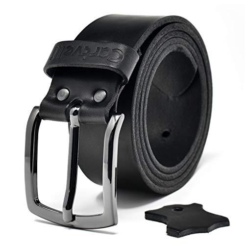 Cartvelli Premium Ledergürtel Herren - hochwertig MADE IN GERMANY - Breite 4cm - 100% Echtleder Kaviar schwarz - Echt Leder Gürtel - Vollleder Jeansgürtel mit Geschenk Box - Bundweite 90cm