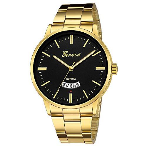 Gaddrt Herrenuhr Edelstahl-Quarz-Analog-Datums-Armbanduhr-Sport der Männer Uhren-Geschenke (F)