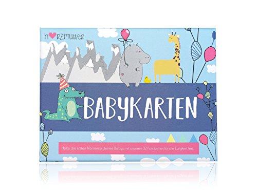 Herzmutter Babykarten-Meilenstein-Karten - nach der Schwangerschaft - zur Geburt - Erinnerungskarte für die schönsten Babymomente - 33 Karten in hochwertigem Karton - 9200