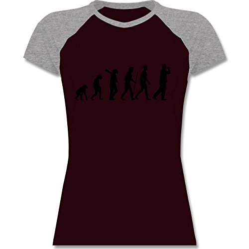 Evolution - Sänger Evolution - zweifarbiges Baseballshirt / Raglan T-Shirt für Damen Burgundrot/Grau meliert