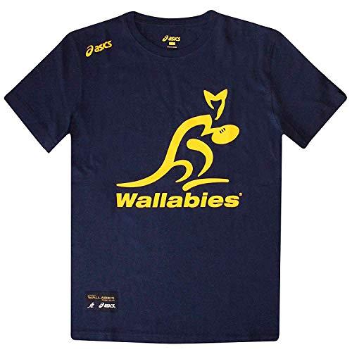 Wallabies Camiseta Oficial de Australia Rugby World Cup Fans por Asics, Unisex Adulto, Asics tee NVY, Azul Marino, Medium