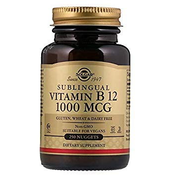 Solgar, Vitamine B12, 1000 mcg, 250 comprimés sublinguaux, végétarien, sans gluten, sans soja