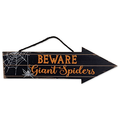 DII Indoor and Outdoor Wood Fall Halloween Hanging Door Decorations and Wall Signs, Haunted House Decor, for Home, School, Office, Party Decorations - Beware of Spiders