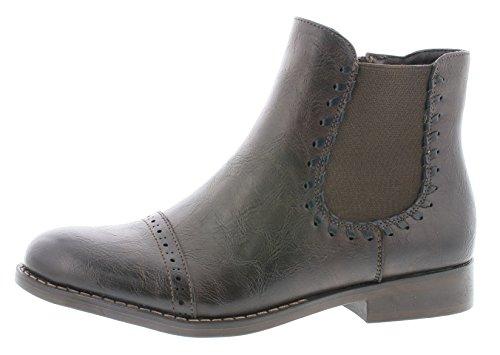 Rieker Damen Chelsea Boots 98790,Frauen Stiefel,Halbstiefel,Stiefelette,Bootie,Schlupfstiefel,Flach,Blockabsatz 2.7cm,Moro/Schwarz, EU 40