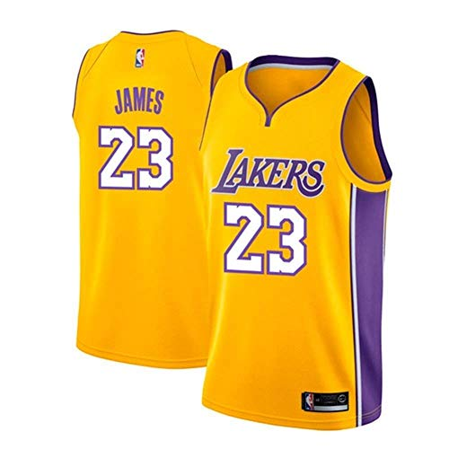 AKCHIUY Herren-Basketballtrikot, Lebron James # 23 NBA Los Angeles Lakers, Neues Atmungsaktives ärmelloses Swingman-Trikot,Yellow(B)-S