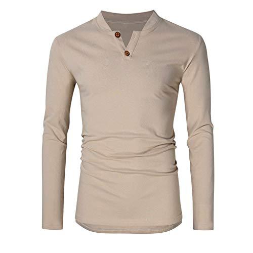 Xmiral T-Shirts Bluse Herren Einfarbig Lange Ärmel V-Ausschnitt Mode Tops mit Knopf Pullover Outdoor Streetwear Sportbekleidung Sweatshirts(Khaki,S) (Schlafanzug Yankees Jungen)