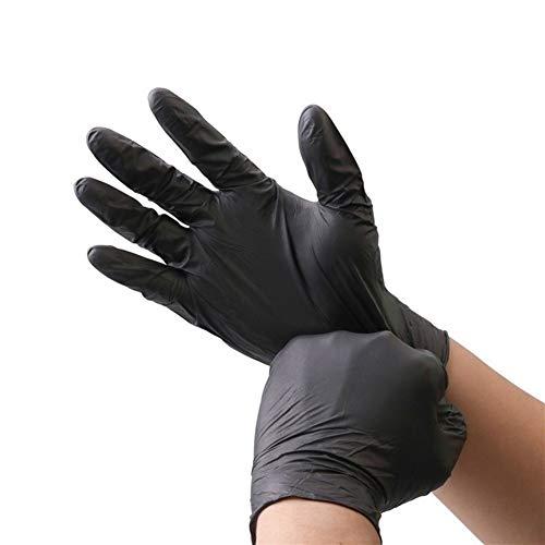 Anti Cut Nitril-Handschuhe 6pcs / lot schwarzer Nahrungsmittelgrad-wasserdichter Allergie-freier medizinischer Wegwerfarbeitsschutz-Handschuh-Nitril-Handschuh-Mechaniker ( Color : Black , Size : S )