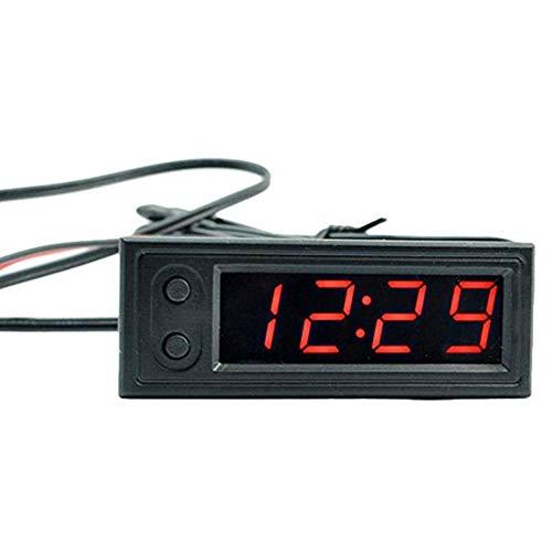 ljym88 Voltímetro Electrónico Multifuncional LED Reloj de Coche Universal 3 en 1...