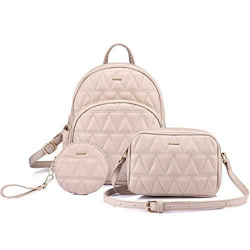 LOVEVOOK Rucksack Geldbörse gesteppt Casual Rucksäcke Handtaschen für Frauen Schultertasche Münztasche 3-teiliges Set, Beige (beige), Medium - Mädchen Gesteppte Geldbörse