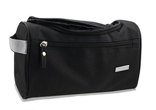 Kulturbeutel Kulturtasche | Tragbar | Wasserabweisend | Metall-Hake zum Aufhängen | Rechteck | Unisex | Der&Dies Premium Kulturbeutel mit vielen Plätzen und extra Länge für unterwegs (Schwarz)