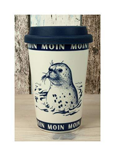 Maritim Coffee to go Becher mit Seehund Moin Moin 350ml Kaffeebecher Porzellan Mehrwegbecher...