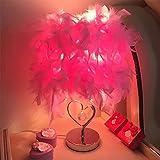 XRROOK Federtischlampe Schlafzimmer Nachttischlampe Metall Einfach Modern Romantisch Kreativ Europäischen Augenschutz Warmen Lampenschirm,Pink