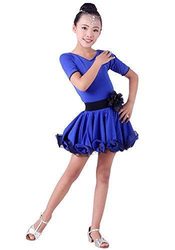 XFentech Mädchen Kurzarm Latein Tanzkleider Ballroom Performance Kostüme (140, Dunkelblau)