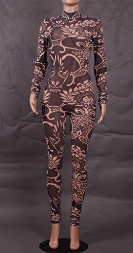 Smile YKK Combinaison Pantalon Femme Jumpsuit Manches Longues Déguisement Soirée Perspective Multicolore