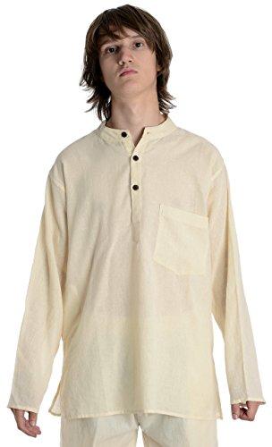 HEMAD Herren Hemd Fischerhemd beige blau schwarz S-XXXL reine Baumwolle Beige