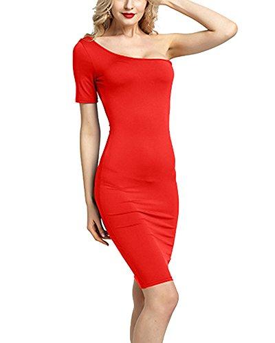 Donna Elegante Vestiti Abito In Midi Formale Sera Vestito Rosso