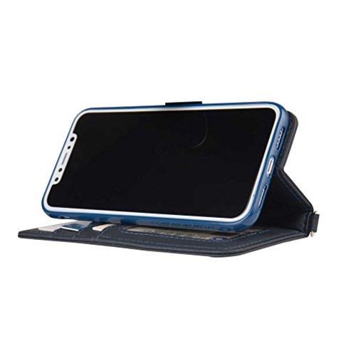 inShang Custodia per iPhone X 5.8 inch con design integrato Portafoglio, iPhoneX 5.8inch case cover con funzione di supporto. navy blue