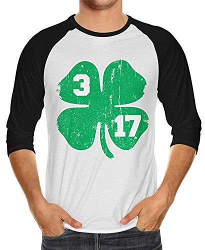 Distressed 3 17 Four Leaf Clover Unisex 3/4 Raglan Shirt -
