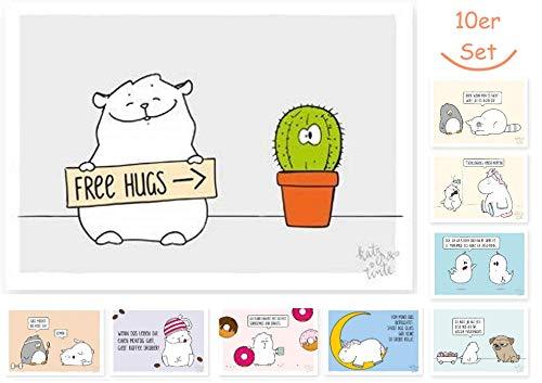 10 er Set lustige Postkarten, lustige Geburstagskarten, Sprüche, witzig, für Männer, für Frauen, für Kinder, Einhorn, Katze, Heuschnupfen, faul, Gespenst, Donut, Montag, Kaffee