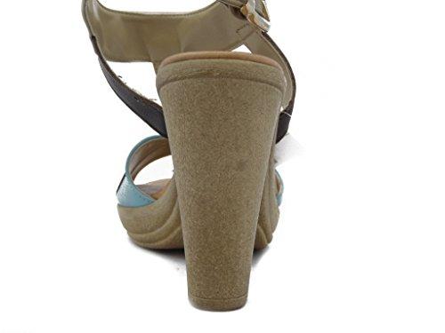MERCANTE DI FIORI. Mehrfarbigen Leder Sandale mit Fersen 10 cm. und Plateau 2 cm., gepolstertes Fußbett und Gummisohle , Sommer-44084 braun-türkis-Kamel