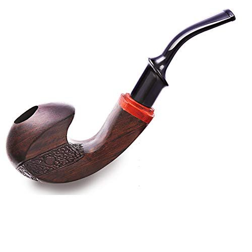 KT Tabakrauchpfeife, Holzrauchduft Ebony Pipe, Classic Straight Boutique Smoke Solid Birthday Geschenk (Classic Pipe)