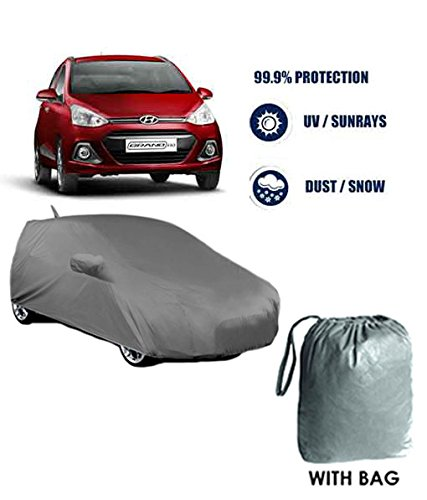 Fabtec Best Seller Premium Heavy Duty (2X2) Car Body Cover With Mirror & Antina Pockets For Hyundai Grand i10  available at amazon for Rs.825