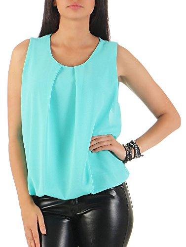 Malito Damen Bluse ärmellos | Tunika mit Rundhals | leichtes Blusenshirt | Elegant - Shirt 6879 (türkis)