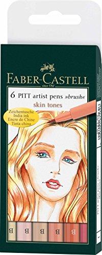 Faber-Castell 167162 - Tuschestift Pitt artist pen Skin, 6er Packung, Stärke: B (Pitt Pen-manga Artist)