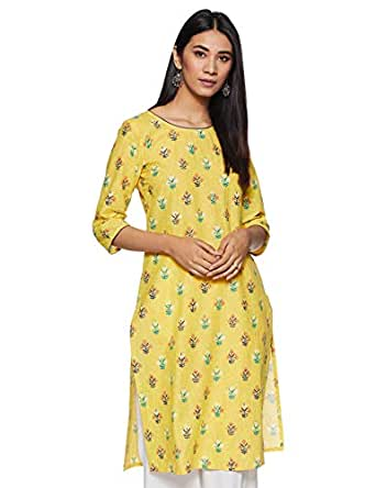 Aurelia Women's Straight Kurta (18AUA10231-100137_Yellow_Xs)