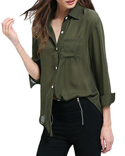 Auxo Femme Filles Sexy Mousseline Revers Mode Bureau Boutons Manches Longues Chemisiers Tops Armée Vert