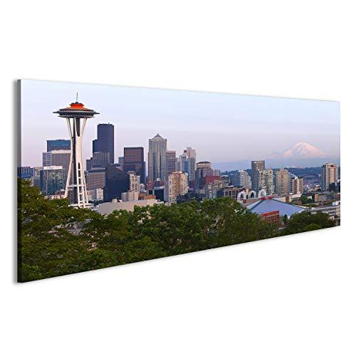 Poster Skyline Von Seattle (islandburner Bild Bilder auf Leinwand Seattle Skyline bei Sonnenuntergang und Mt Rainier Wandbild, Poster, Leinwandbild EDZ)