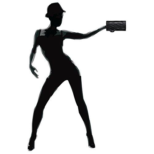 CASPAR TA397 Donna Pochette Brillante con Motivo a Onde Nero