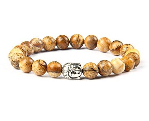 GOOD.designs Buddhismus Perlenarmband aus echten Natursteinen und edler Buddha-Kopf Perle, Chakra-Schmuck für Damen und Herren, Yoga-bracelet (Brauner Jaspis)