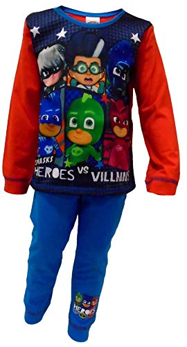 Jungen Charakter Lang Kinder Offiziell Lizenziert Pyjama Maske Schlafanzüge - Pyjama Maske Helden Vs Bösewichte, Größe 98