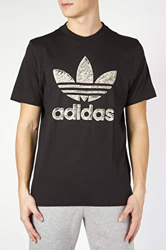 Adidas hand drawn t1, t-shirt uomo, black, xxl