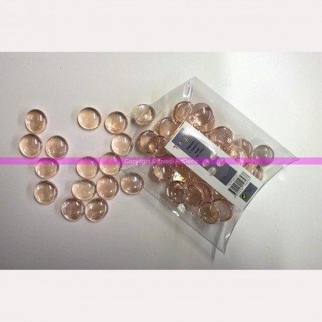 Lot de 200g de Galets Nuggets de Verre Brillant Plein et Lisse Rose Bombés, 17mm, env. 50 Pièces
