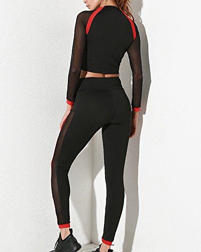 Donne 2 pezzi Reggiseno Sportivo Gilet + Palestra Di Yoga Leggings Pantaloni Set Athletic Tuta Sportiva Nero