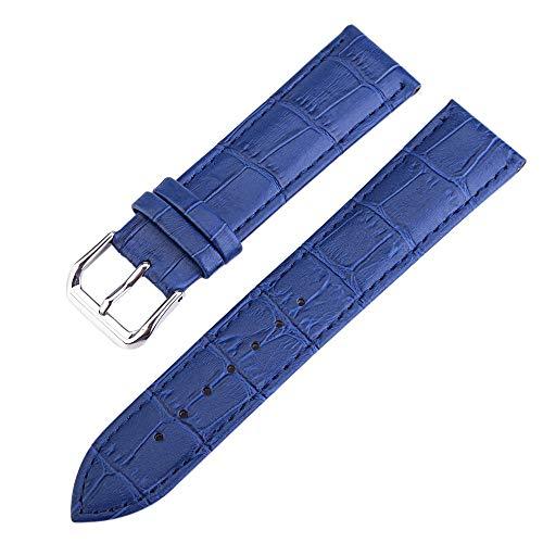 FERZA Home 12-20mm Blau High-end Premium Alligator Grain Leder Uhrenarmband für Frauen Echtes Rindsleder (Size : 14mm) Premium-grain-leder