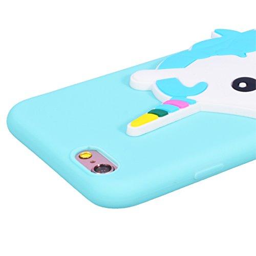 Yokata Cover per iPhone 6S Plus / 6 Plus Silicone Disegni Rigida Case Originale Fantasia Divertenti Caso Custodia gel Gomma TPU Morbido Ultra Slim Impermeabile Antiurto Protettiva Shell + Penna - Cane Blu Unicorno