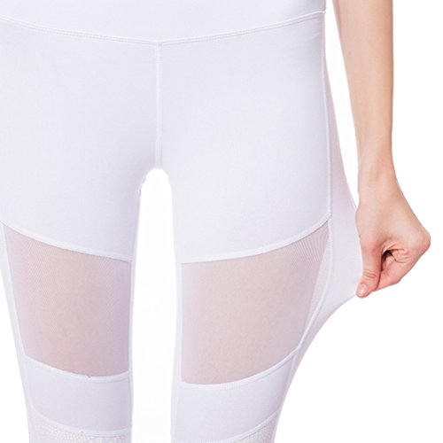 NiSeng Femmes Ensemble de Sport,Fitness Crop Top et Leggings Stretch-Fit Ensemble de Jogging Femme Gym Yoga Jogging Sports Blanc Legging