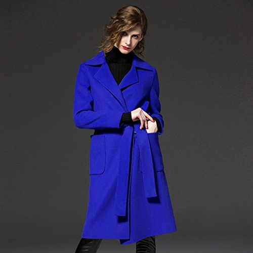 on Großen Frauen Kleidung Wollmantel im Langen Mantel Ihres Mantels,Blau,S (Leopard Halloween-kostüm-muster)