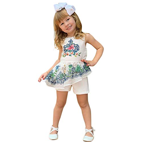 REALIKE Mädchen Baby Mini Kurz Kleid +Kurz Hosen Nationaler Stil Druck Ärmellos Schulterfrei Achselbody im Sommerkleid Cocktailkleid Prinzessin Festlich Babybekleidung Floral Kleid -