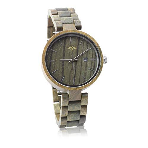 Angie Wood Creations Grüne Sandelholz Damenuhr mit passendem Armband