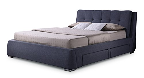 Urban Ladder Stanhope Queen Size Upholstered Bed with Storage (Charcoal Grey)