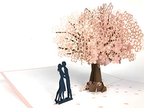 unter Blossom Baum 3D Pop up Grußkarte Anniversary Baby Happy Geburtstag Ostern Mutter Thank You Valentine 's Day Hochzeit Kirigami Papier Craft Postkarten ()