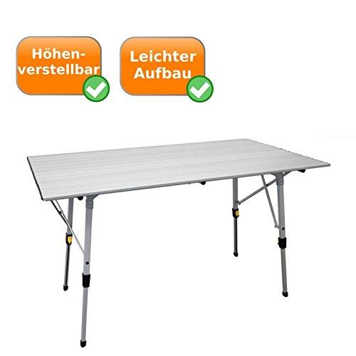 Preisvergleich Produktbild Wetterfester Aluminium-Falttisch, regulierbare Höhe 46-70 cm, auch als Kindertisch nutzbar, ideal für den Campingurlaub, als Balkontisch oder Beistelltisch, Rolltisch für bis zu 6 Personen geeignet