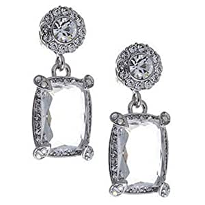 Butler and Wilson Oblong Crystal Drop Earrings