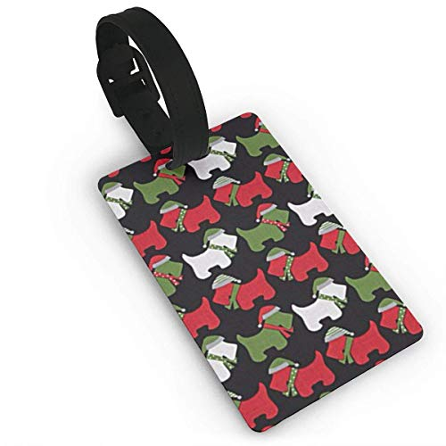Jingle Scottie Dogs Black Luggage Tags, Bag Tag Travel ID Labels Tag for Baggage Suitcases Bags, -